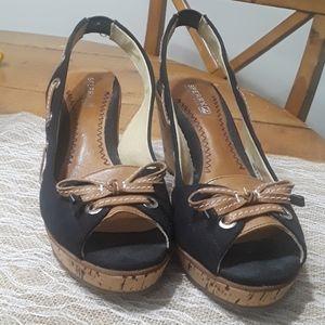 Black Sperrys cork wedge heel Size 8